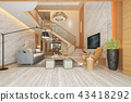 white wood living room near stair  43418292