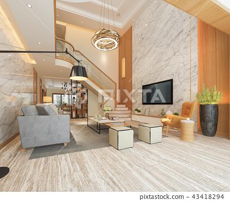 white wood living room near stair  43418294