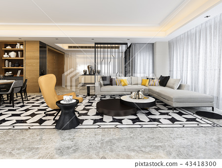 modern dining room and living room  43418300