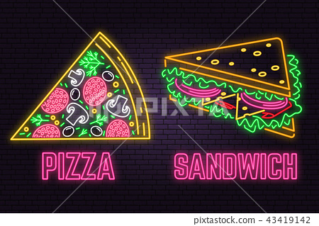 Retro neon sandwich and pizza sign on brick wall background. Design for fast food cafe. 43419142
