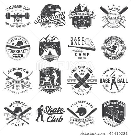 Set of baseball and skateboard club badge. Vector illustration. Concept for shirt or logo, print 43419221