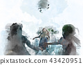 Children are playing with balloons on watercolor  43420951