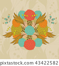 Colorful hand- drawn floral pattern 43422582