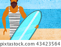 Surfer man with board in hand on blue background. 43423564