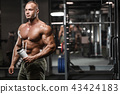 strong bodybuilder athletic men pumping up muscles 43424183
