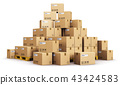 Piles of cardboard boxes on shipping pallets 43424583