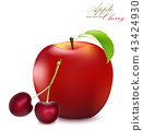 Apple and Cherry Set. Realistic 3d apple   43424930