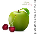 Apple and Cherry Set. Realistic 3d apple    43425128