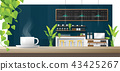 Cup of coffee on wooden table , coffee shop 43425267