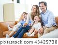 family, child, sofa 43425738