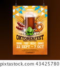 Oktoberfest party poster illustration with fresh dark beer, pretzel, sausage and blue and white 43425780