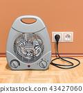 Fan heater in interior, 3D rendering 43427060