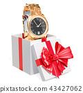 Gift concept, golden men's wrist watch inside gift 43427062