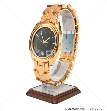 Golden wrist watch on the stand holder 43427072