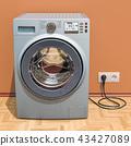 Washing machine in interior, 3D rendering 43427089