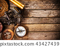 Old vintage navigation equipment on old wooden background. 43427439