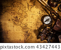 Old vintage navigation equipment on old world map. 43427443