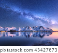 Milky Way over snow covered mountains and sea 43427673