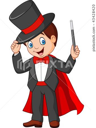 Cartoon magician holding magic wand 43428420