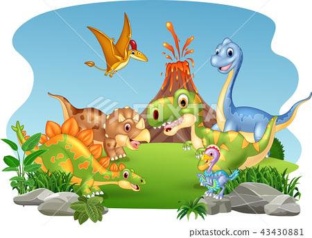 Cartoon happy dinosaurs in the jungle 43430881