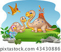 Cartoon mother and baby dinosaurs with nature back 43430886