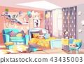 Kid girl modern room interior vector illustration 43435003