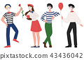Mimes man and woman pantomime vector illustration 43436042