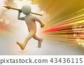 3d man throws a spear 43436115