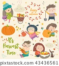 Harvesting set with kids, fruit and vegetables 43436561