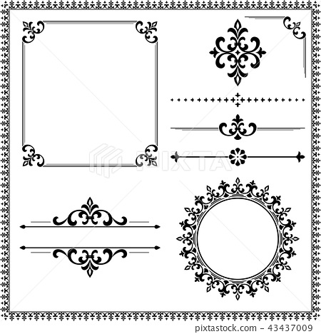 Vintage Set. Floral elements for design monograms 43437009