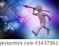 3d man throws a spear 43437962
