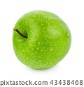 green apple with Drop of water on white background 43438468
