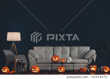 3D render Halloween party in living room.   43439372