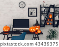 Halloween party interior with desktop computer. 43439375