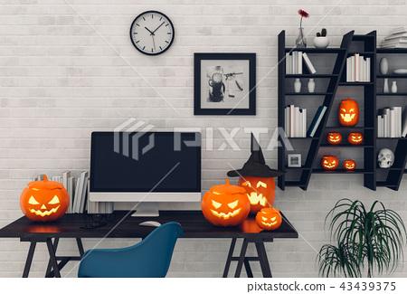 Halloween party interior with desktop computer. 43439375
