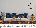 3D render Halloween party in living room.   43439376