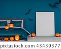 3D render of Halloween party in bed room  43439377