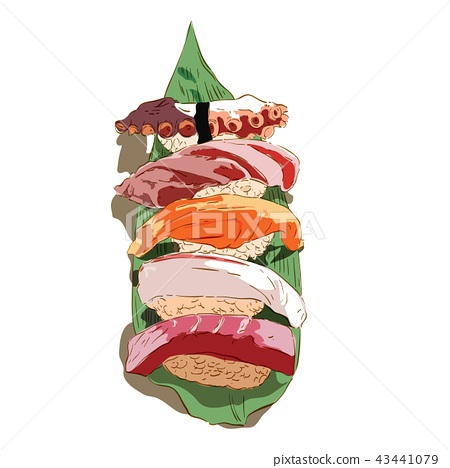 Japanese food vector in hand drawn style. Sushi  43441079