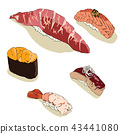 Japanese food vector. Sushi of salmon,beef,shabby 43441080