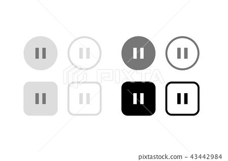 暫停按鈕。圖形材料,UI,應用程序設計部分 43442984