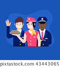 Aircraft Crew with Stewardess Offering Food 43443065