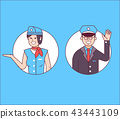 Pilot or Steward and Stewardess Icons 43443109