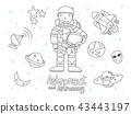 Cute Astronaut and Astronomy Doodle for Kids. 43443197