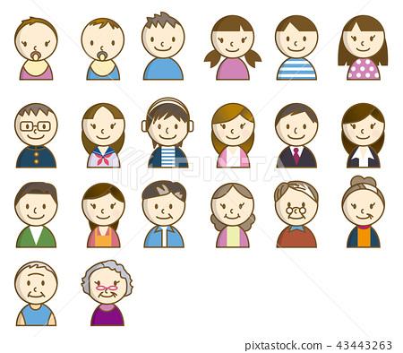 手指木偶類型人例證(與線) 各種各樣的年齡的人例證 手指玩偶 43443263
