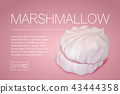 Flyer with a realistic image of marshmallows 43444358