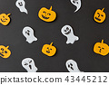 Creative colorful handmade pattern with paper horrible smiling spirits and ghosts and laughing 43445212