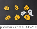 Modern Halloween handcraft pattern handcraft from colorful paper with horrible smiling spirits and 43445219