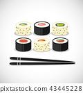 sushi, chopsticks, different 43445228