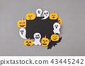 Halloween party handmade card of laughing flying ghosts, spirits, scary pumpkin and bats around it 43445242