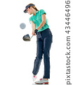 woman golfer golfing isolated 43446496